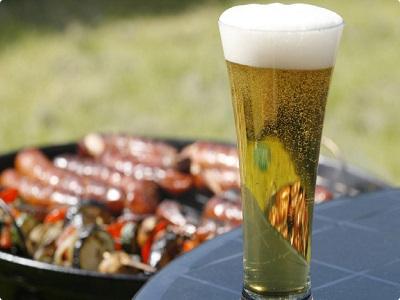 BBQでビール